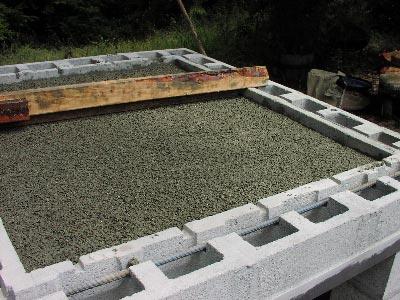 Gettata di cemento su terra